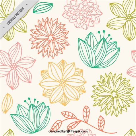 flower pattern to draw hand drawn cute flowers pattern vector premium download