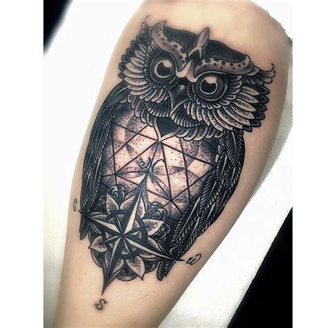 owl tattoo calf 24 best compass owl tattoo images on pinterest owl