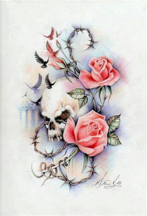 skull rose and bird tattoo skull roses birds tattoos and piercings