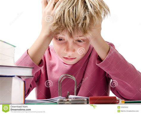 Reading Desperate by Desperate Boy Doing Is Homework Stock Images Image 22623444