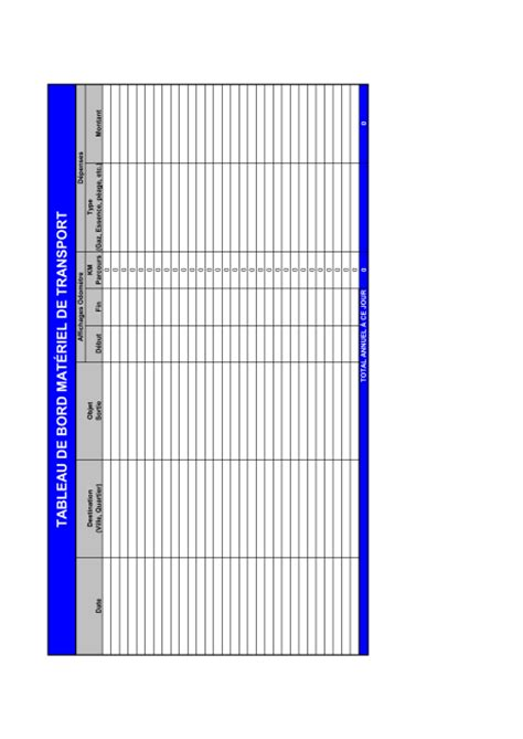 Tableau de bord Véhicules d'entreprise   Template & Sample