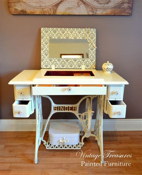 turn desk into vanity antique singer sewing machine turned into the vanity