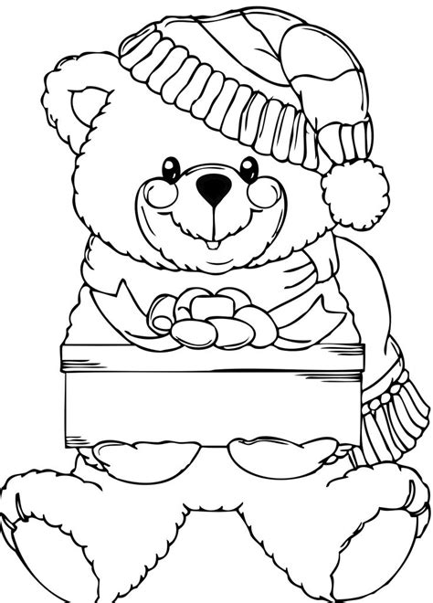 christmas coloring pages teddy bear 66 best christmas images on pinterest teddy bear