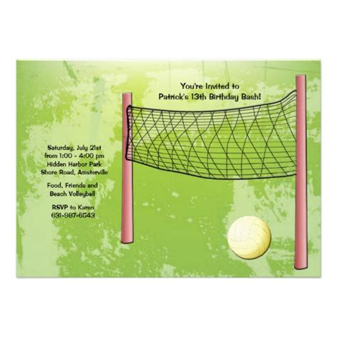 free printable volleyball stationary volleyball invitation 5 quot x 7 quot invitation card zazzle