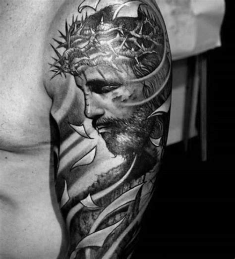 spiritual tattoos for men 50 jesus sleeve designs for religious ink ideas
