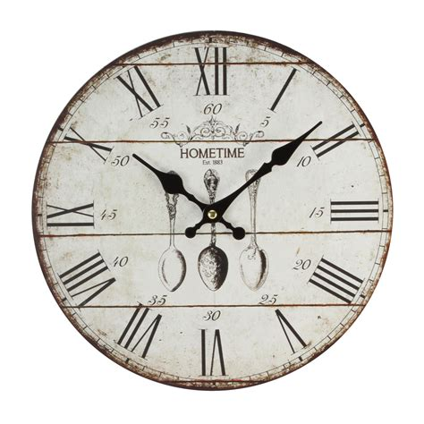 wall clock vintage style antique shabby chic distressed