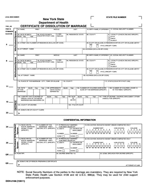 Dissolution Of Marriage Records Certificate Of Dissolution Of Marriage New York State