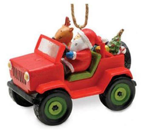 jeep wrangler raindeer santa in jeep ornament joe wilcox indian den