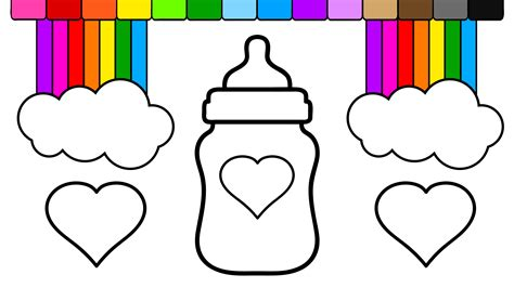 coloring page baby bottle learn colors for kids and color rainbow heart baby bottle