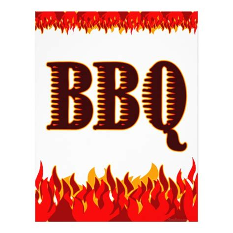 bbq flyer template bbq flames custom flyer template zazzle