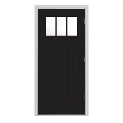 34 X 80 Interior Door Jeld Wen 34 In X 80 In 3 Lite Craftsman Black W White Interior Steel Prehung Left