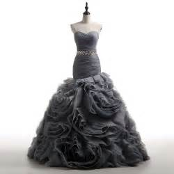 Popular Grey Wedding Dresses Buy Cheap Grey Wedding Mermaid Wedding Dresses With Ruffles