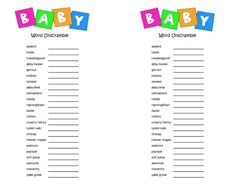 printable baby shower games unscramble words 7 best images of printable baby shower unscramble game