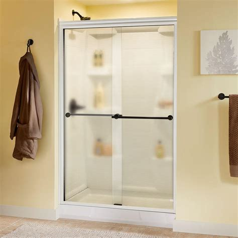Delta Glass Shower Doors Delta Lyndall 48 In X 70 In Semi Frameless Sliding Shower Door In White With Bronze Handle