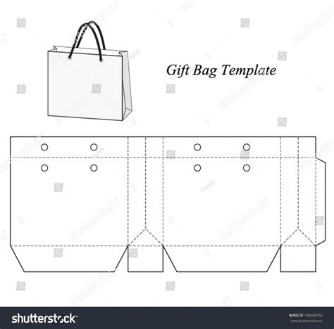 gift bag net template shopping bag template vector illustration stock vector