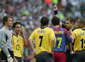arsenal barcelona 2006 fernando torres became the 31st player to be sent off