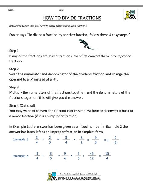 Division Step By Step Worksheet by Step By Step How To Divide Fractions Boxfirepress