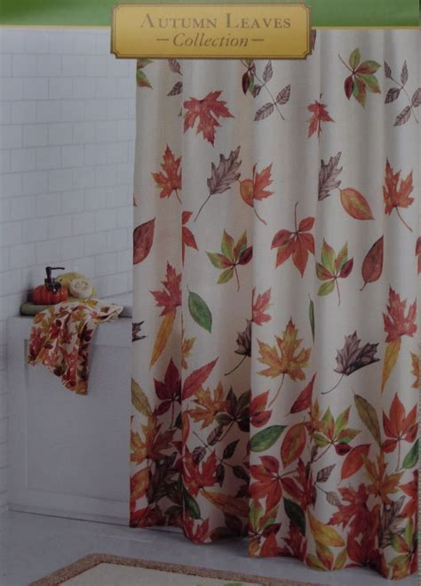 fall shower curtains autumn leaves harvest cacading leaves fabric shower