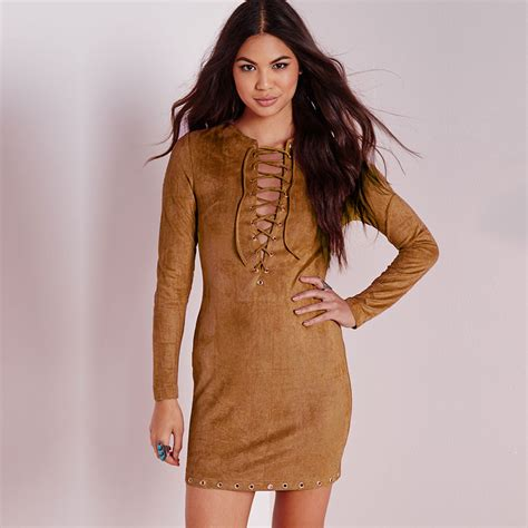 Brown V Neck Casual Dress high quality autumn dress 2015 brown suede dress fashion v neck faux leather casual