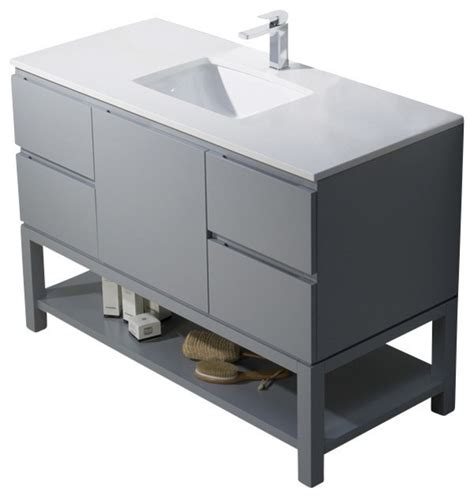 emmet 49 vanity metal gray beige sink white quartz