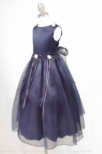 Navy blue ribbon bow flower girl dress unique color for your wedding