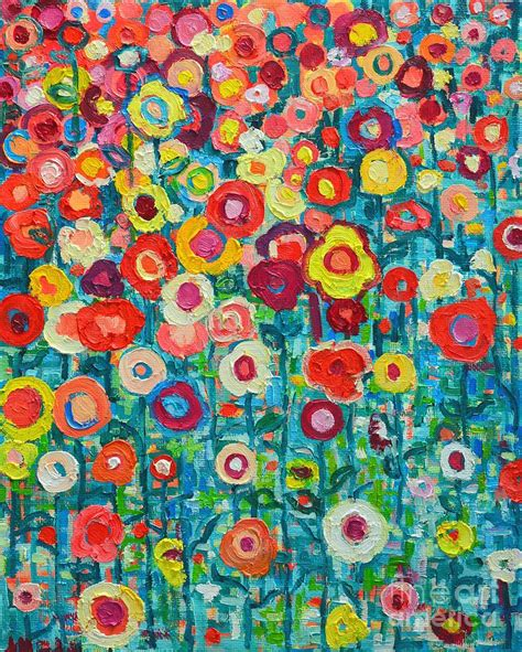 Floral Print Duvet Cover Abstract Garden Of Happiness Painting By Ana Maria Edulescu