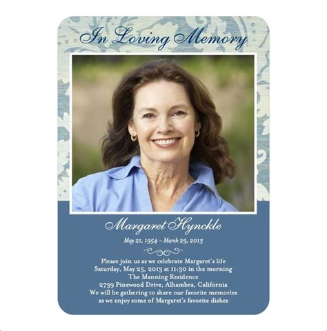 Memory Cards Funeral Template by 16 Obituary Card Templates Free Printable Word Excel
