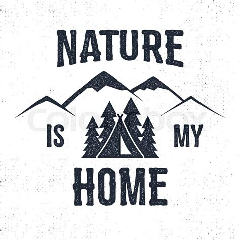 typography nature mountain advventure label nature is my home illustration typography design with