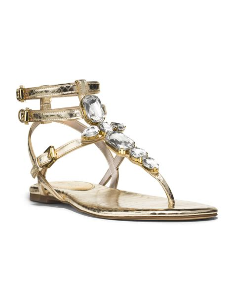 michael kors sandal lyst michael kors michael jeweled sandal in metallic