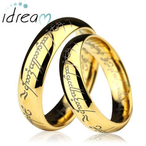 gold lotr laser engraved tungsten wedding bands set domed