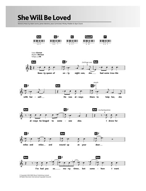 she will be loved guitar tutorial she will be loved sheet music by maroon 5 keyboard 117194