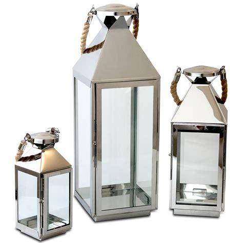 große glas kerzen laternen 3tlg laternen set h55 5 40 25cm edelstahl laterne kaufen