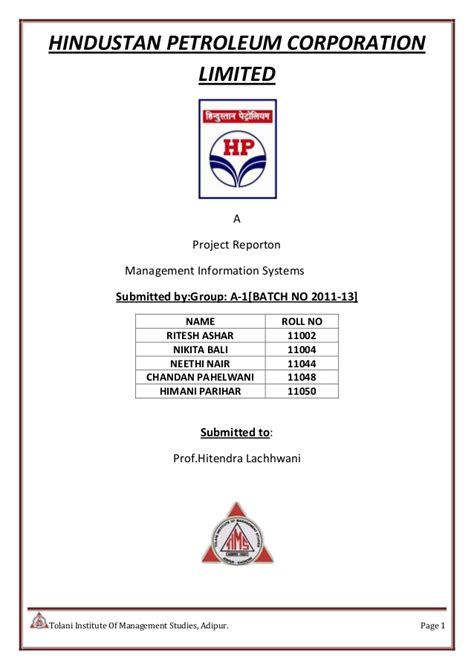 Hindustan Petroleum Corporation Limited Recruitment 2015 For Mba by A Project Report On Management Information Systems Of