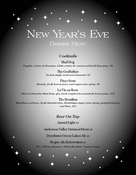 new years eve party menu letter new year s eve menus