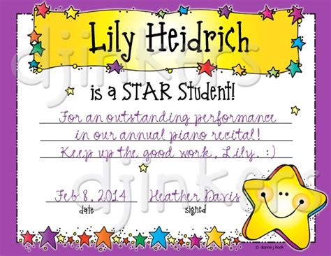 printable star student certificate star student clip art printables certificate by dj