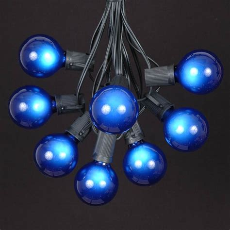 Blue Satin G50 Globe Outdoor String Light Set On Black Blue String Lights