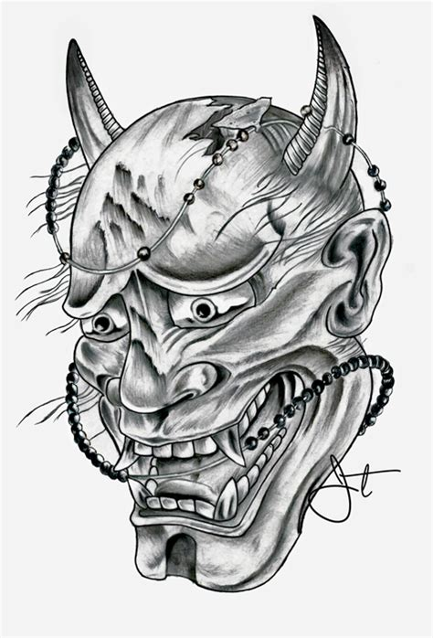 hannya mask tattoo drawing hannya mask on student show
