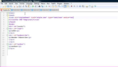 basic html template code how to create a basic website design template using php