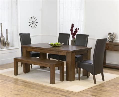 dining room table with bench and chairs palermo dark oak 180cm dining table 4 marcello brown