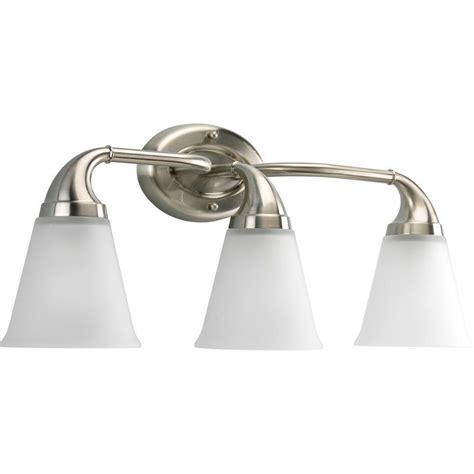 Brushed Nickel Lighting Fixtures Progress Lighting Lahara Collection 3 Light Brushed Nickel Vanity Fixture P2760 09 The Home Depot