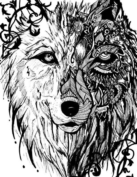 intricate wolf coloring pages detailed zentangle mandala tribal wolf print by