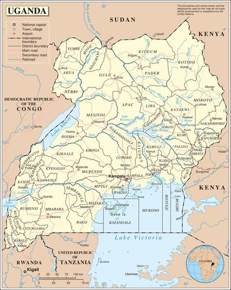 map of uganda large detailed political and administrative map of uganda with all cities roads and airports