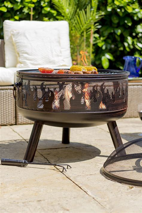 firepit with grill steel firepit with bbq grill savvysurf co uk