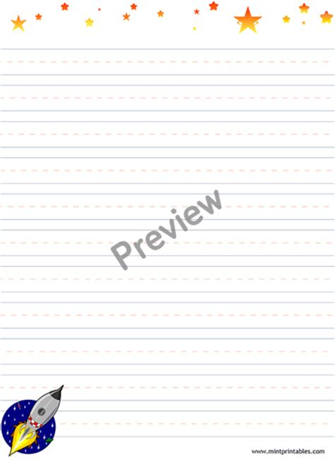 printable lined paper with space for picture printable rocket stationery for kids