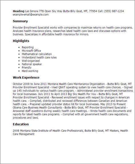 Enrollment Specialist Cover Letter by Professional Provider Enrollment Specialist Templates To Showcase Your Talent Myperfectresume