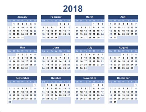 2018 calendar printable 12 month in one page calendar 2018 2019