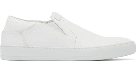white slip on sneakers for helmut lang white leather slip on sneakers in white for
