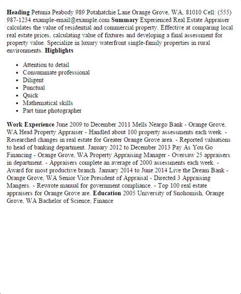 Letter Of Appraisal Real Estate real estate appraiser resume exle persepolisthesis