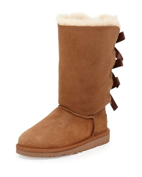 ugg bailey bow detailed sheepskin boots in brown chestnut