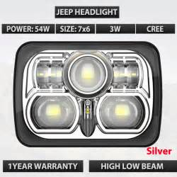 Lu Led 54 Colour 7x6 square black and silver color led headlight 54w 12v 24v front led work light with high low
